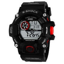 G Style Army Digital Rubber Wrist Watch in Black/Red (nt)