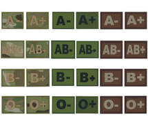 Blood Group Patches - Multicam, Olive Green, Desert Tan