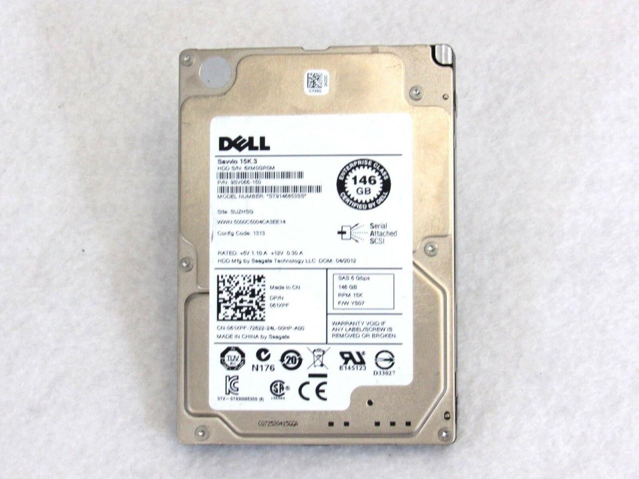 Dell Seagate 61XPF 061XPF ST9146853SS 146GB 15K 6Gb//s SAS R-Series HD 66-4