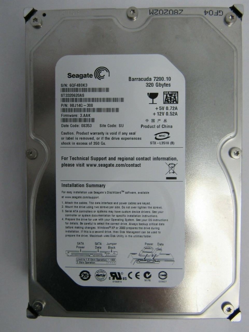 "Seagate ST3320620AS 9BJ14G-308 320GB 7200RPM 3.5/"" HDD"