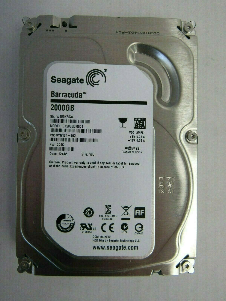 """ST2000DM001 Seagate Barracuda 2TB 9YN164-302 2TB 3.5/"""" 7200RPM HDD"""