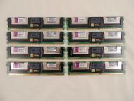 Lot of 8 KVR667D2S8F5/1GI 1GB PC2-5300F Fully Buffered ECC Server Memory C-10
