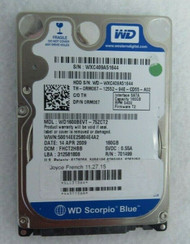 "Dell 0RM067 RM067 WD 1600BEVT-75ZCT2 SATA 2.5"" 160 GB 5400 RPM HD 77-2"