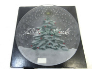 "Vintage L.E Smith Glass 13"" Hand Painted Christmas Snow Pine Serving Plate 50-4"