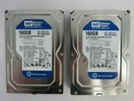 LOT OF 2 Western Digital WD1600AAJS-56M0A0 160GB 7200RPM SATA 3Gbps 8MB HDD 64-3