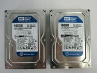 "LOT OF 2 Western Digital WD1600AAJS WD1600AAJS-00YZCA0 160GB 3.5"" SATA HDD 65-2"