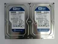 LOT of 2 Western Digital WD1600AAJS-00V4A0 160GB 7200RPM SATA 3.0 Gbps HDD 27-4