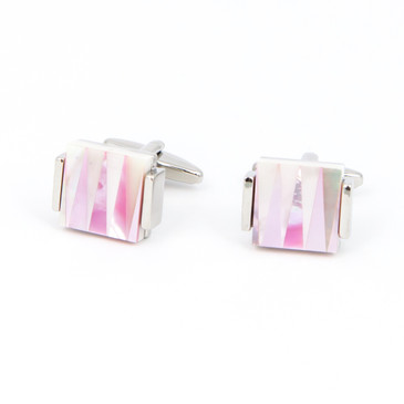 White and Pink Zig-Zag Shell Cufflinks - main view - University graduation gift