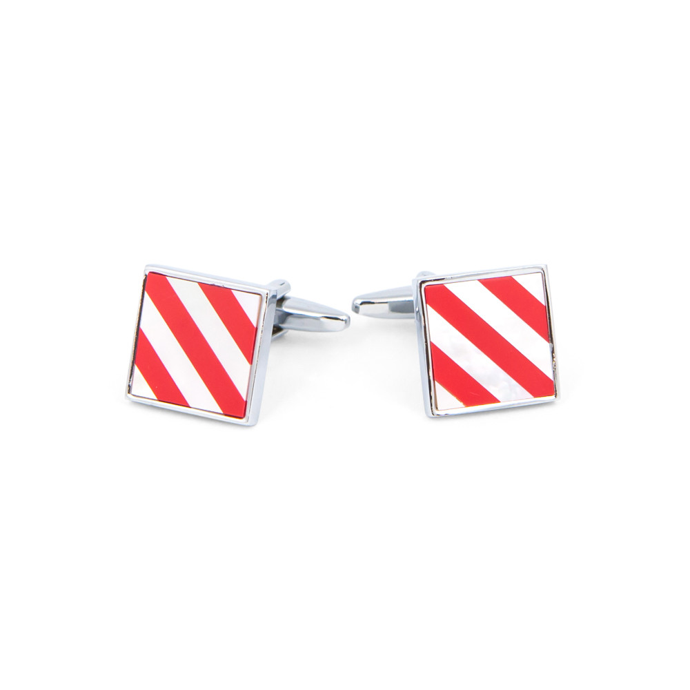 Red and White Striped Shell Cufflinks - alternative view - University graduation gift