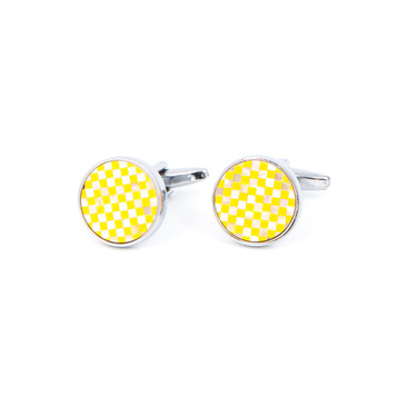 Gold and White Check Shell Cufflinks - main view - University graduation gift