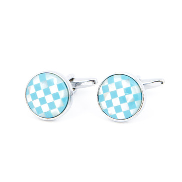 Turquoise and White Check Shell Cufflinks - main view - University graduation gift