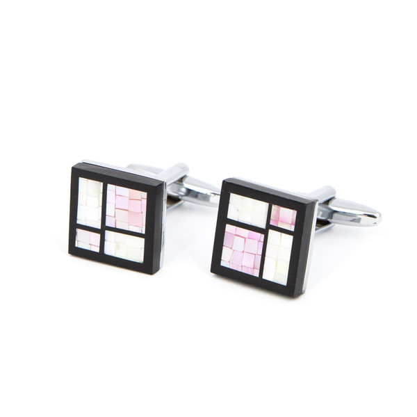 Black, White and Pink Abstract Shell Cufflinks - main view - University graduation gift