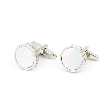 White Round Shell Cufflinks - main view - University graduation gift