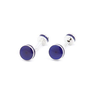 Bold Blue Enamel Cufflinks - main view - University graduation gift