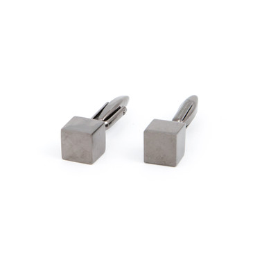Grey Metal Cube Cufflinks - main view - University graduation gift