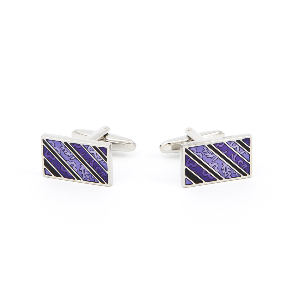 Purple Striped and Patterned Cufflinks - alternative view - University graduation gift