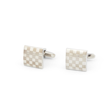 Laser Check Pattern Cufflinks - main view - University graduation gift