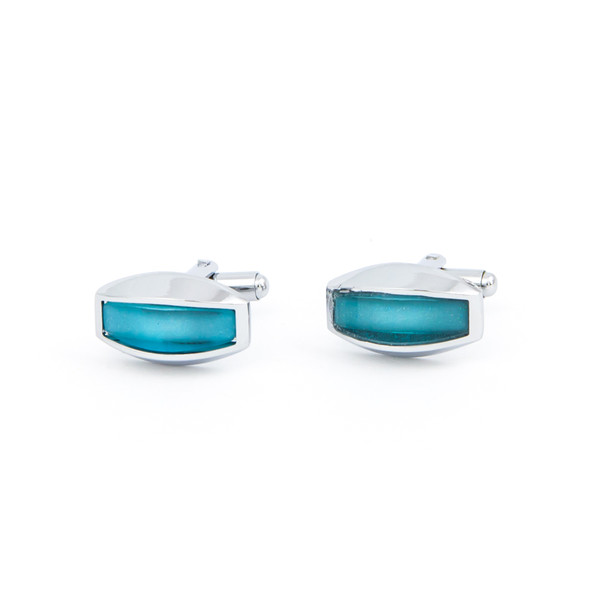 Curved Turquoise Glass Cufflinks - main view - University graduation gift