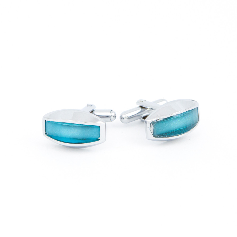 Curved Turquoise Glass Cufflinks - alternative view - University graduation gift