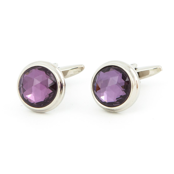 Cut Purple Glass Cufflinks - main view - University graduation gift