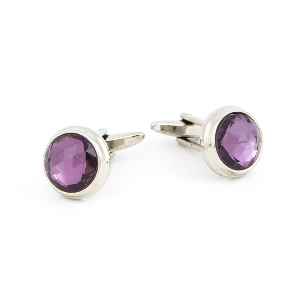 Cut Purple Glass Cufflinks - alternative view - University graduation gift