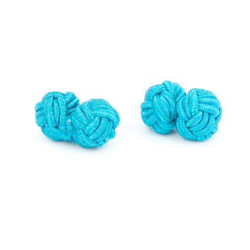 Turquoise Fabric Knot Cufflinks - main view - University graduation gift