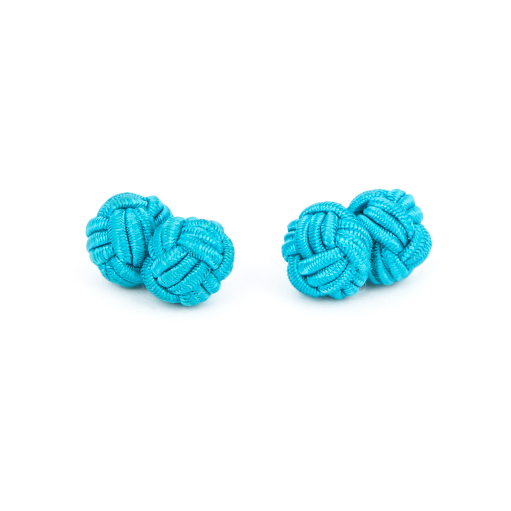 Turquoise Fabric Knot Cufflinks - alternative view - University graduation gift