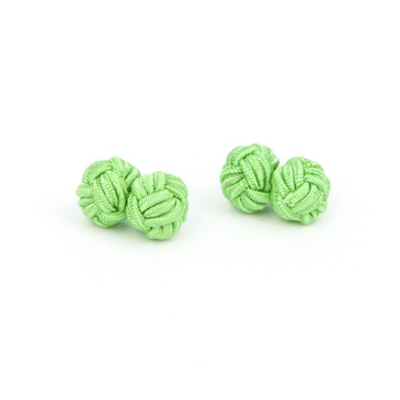 Green Fabric Knot Cufflinks - main view - University graduation gift