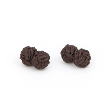 Dark Brown Fabric Knot Cufflinks - main view - University graduation gift