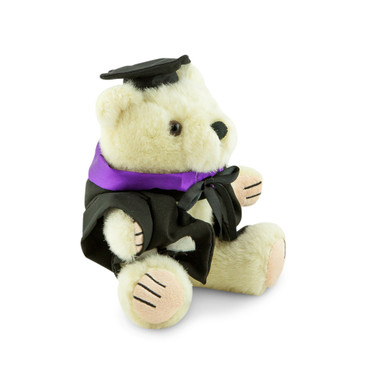 University of Melbourne Bachelor Bear - Music; pictured in small size and with matching hood