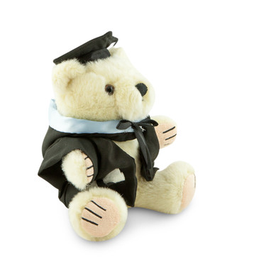 University of Melbourne Masters Bear - MBA; pictured in small size and with matching hood