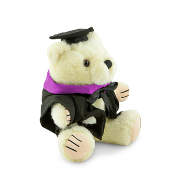 QUT Bachelor Bear - Creative Industries; pictured in small size and with matching hood