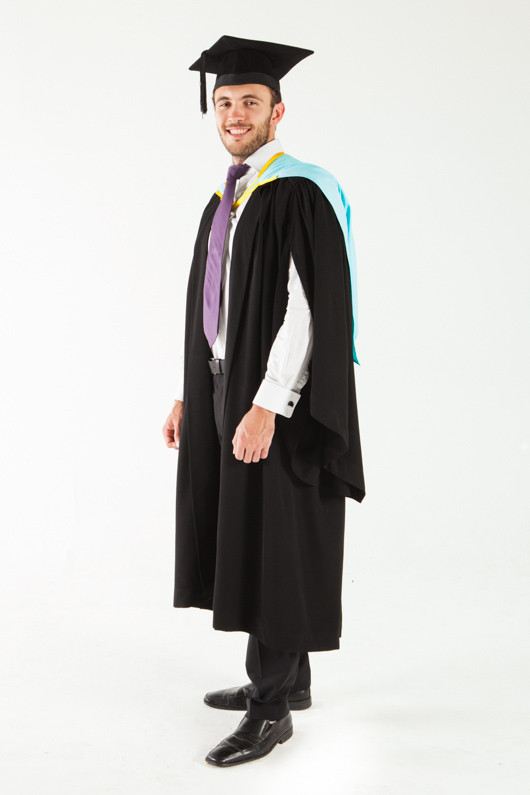 Monash University Bachelor Graduation Gown Set - Pharmacy and Pharmaceutical Sciences - Front angle view