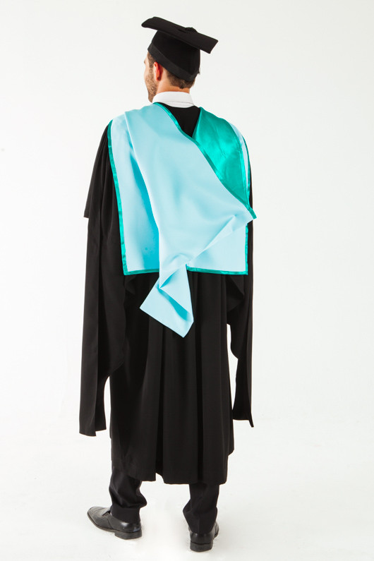 Monash University Masters Graduation Gown Set - Business and Economics - Back angle view