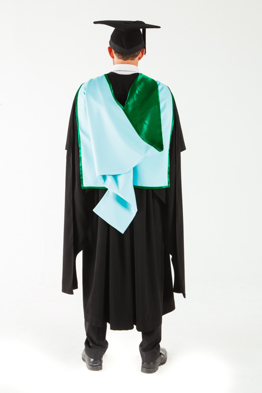 Monash University Masters Graduation Gown Set - Information Technology - Back view