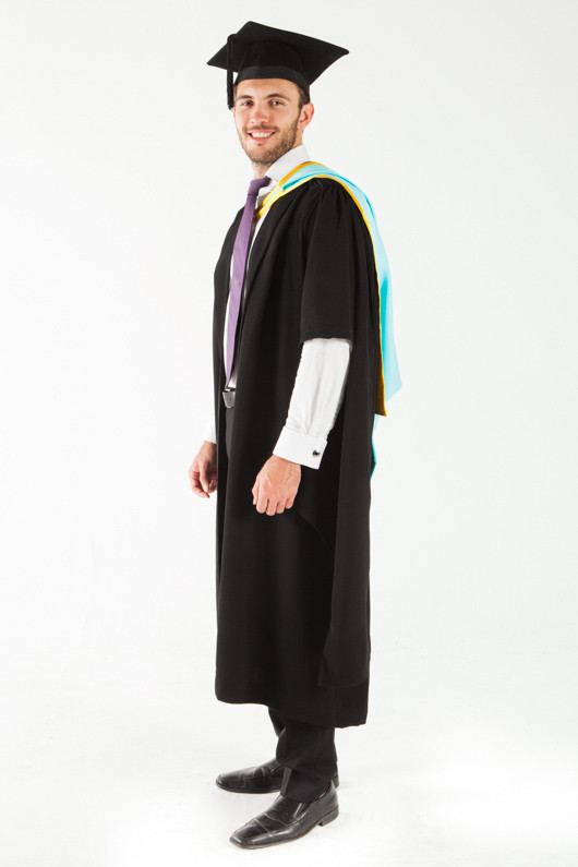 Monash University Masters Graduation Gown Set - Pharmacy and Pharmaceutical Sciences - Front angle view