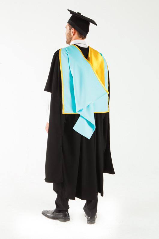 Monash University Masters Graduation Gown Set - Pharmacy and Pharmaceutical Sciences - Back angle view