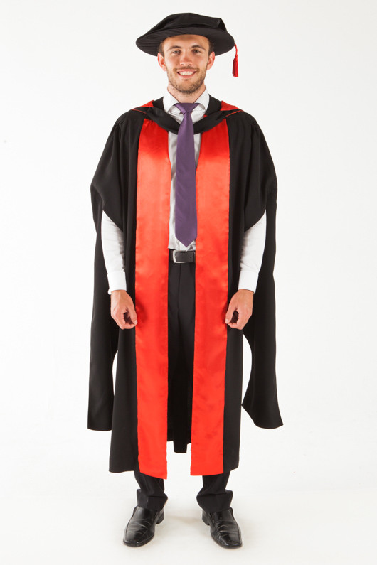 QUT Doctor Graduation Gown Set - PhD - Front view