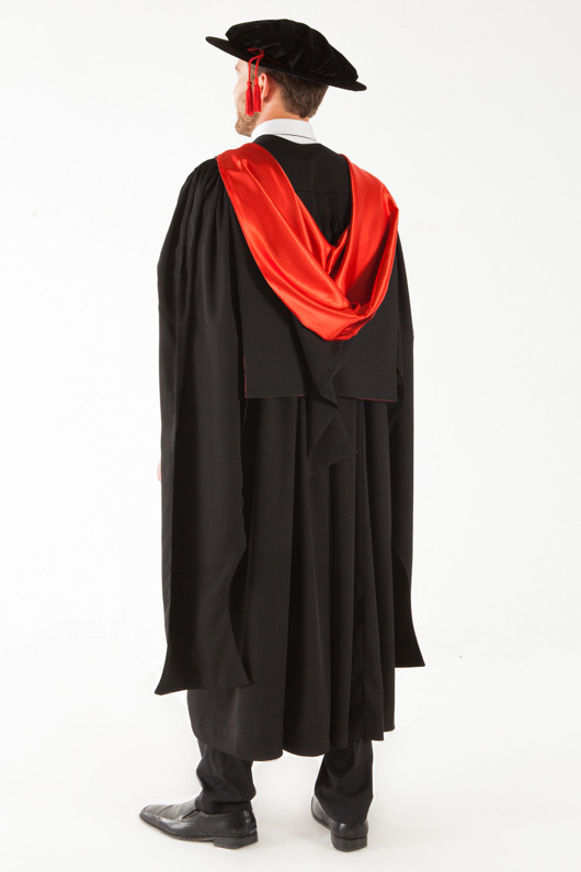 QUT Doctor Graduation Gown Set - PhD - Back angle view