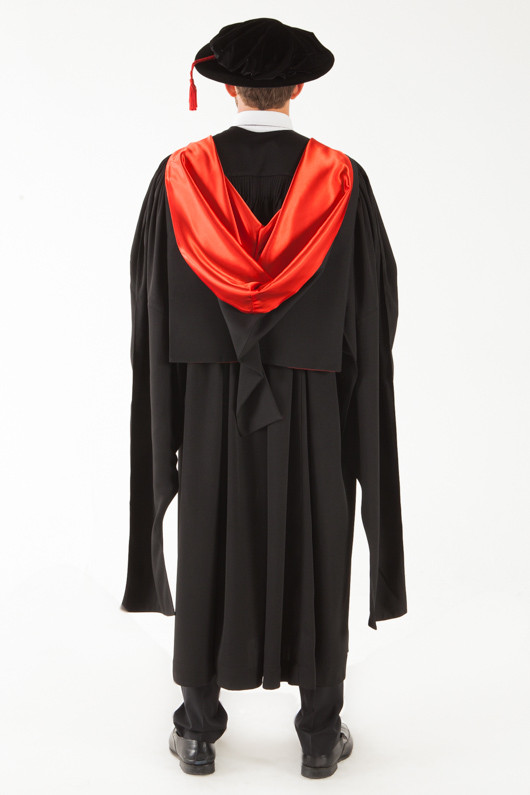 QUT Doctor Graduation Gown Set - PhD - Back view