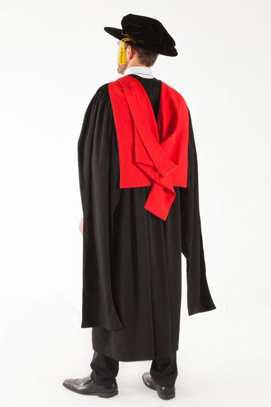 University of Adelaide Doctor Graduation Gown Set - PhD - Back angle view