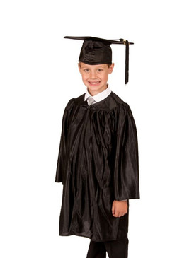 Primary Shiny-Style Black Gown & Cap - Ages above 10