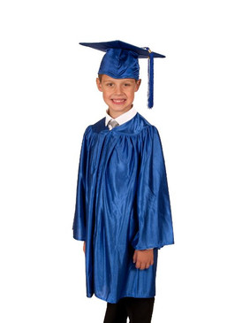 Primary Shiny-Style Blue Gown & Cap - Ages 5 to 6