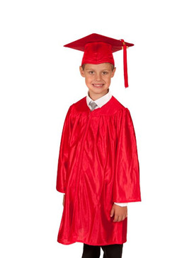Primary Shiny-Style Red Gown & Cap - Ages 7 to 8
