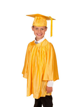 Primary Shiny-Style Gold Gown & Cap - Ages 7 to 8