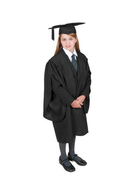 Primary Traditional-Style Black Gown & Cap - Ages 7 to 8