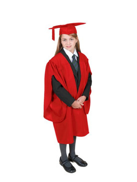 Primary Traditional-Style Red Gown & Cap - Ages 3 to 4