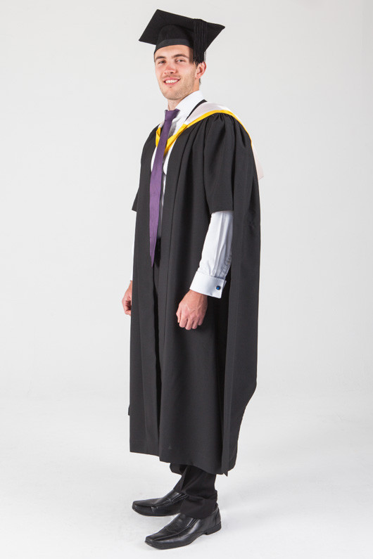 Macquarie University Masters Graduation Gown Set - Arts - Front angle view