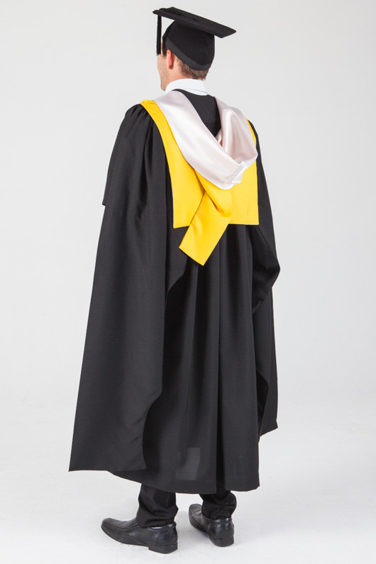Macquarie University Masters Graduation Gown Set - Arts - Back angle view
