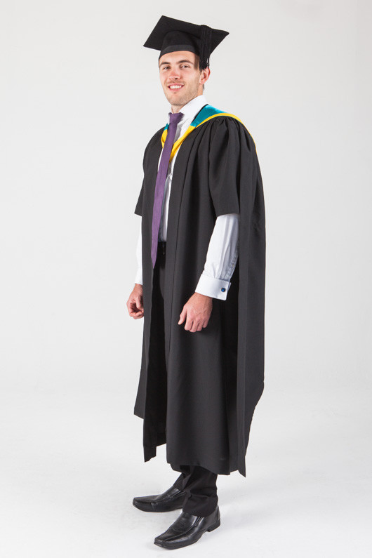 Macquarie University Masters Graduation Gown Set - Human Sciences - Front angle view